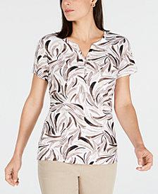 Karen Scott Printed Henley Top, Created for Macy's