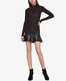BCBGMAXAZRIA Brinne Metallic Turtleneck Top