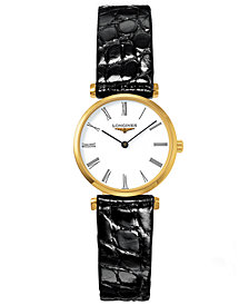 Longines Women's Swiss La Grande Classique Black Alligator Leather Strap Watch 24mm L42092112