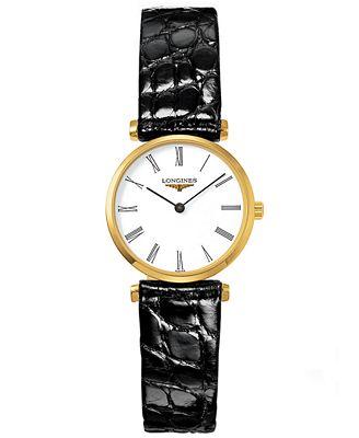 Longines women 39 s swiss la grande classique black alligator leather strap watch 24mm l42092112 for Longines leather strap