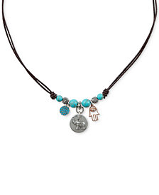 "Lucky Brand Two-Tone Multi-Stone Elephant & Hamsa Hand Beaded Leather Charm Necklace, 16-1/2"" + 2"" extender"
