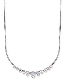 "Danori Silver-Tone Cubic Zirconia Collar Necklace, 15"" + 3"" extender, Created for Macy's"