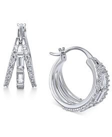 Eliot Danori Silver-Tone Baguette Crystal Triple Small Hoop Earrings  s, Created for Macy's