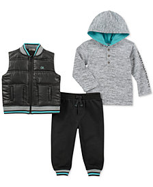 Calvin Klein Little Boys 3-Pc. Vest, Joggers & Hoodie Set