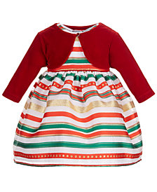 Blueberi Boulevard Baby Girls 2-Pc. Shrug & Striped Dress Set