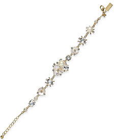 kate spade new york Gold-Tone Crystal & Imitation Mother-of-Pearl Flower Link Bracelet