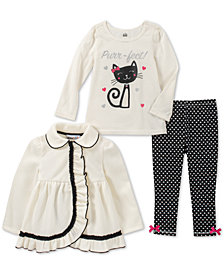 Kids Headquarters Toddler Girls 3-Pc. Fleece Jacket, T-Shirt & Leggings Set