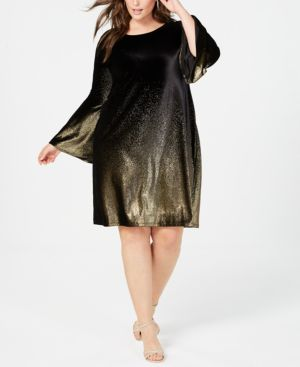 Image of Alfani Plus Size Velvet A-Line Dress, Created for Macy's