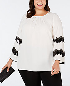 Alfani Plus Size Embellished-Sleeve Blouse, Created for Macy's