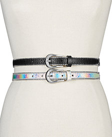 Steve Madden Metallic 2-for-1 Skinny Belts