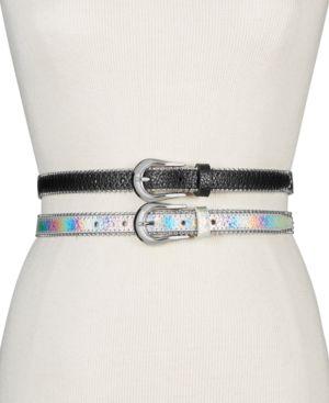 Metallic 2-For-1 Skinny Belts in Silver