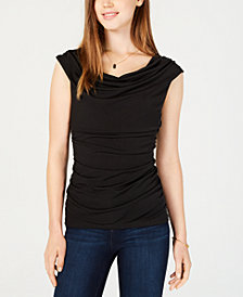 BCX Juniors' Embellished Draped Top