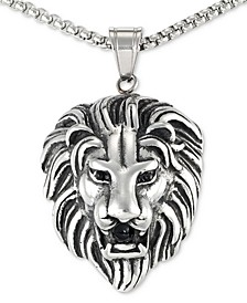 "Black Agate Lion Head 24"" Pendant Necklace in Stainless Steel"