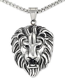 "LEGACY for MEN by Simone I. Smith Black Agate Lion Head 24"" Pendant Necklace in Stainless Steel"