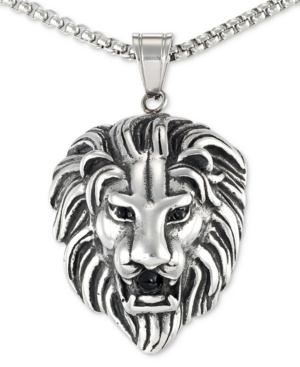 """Smith Black Agate Lion Head 24"""" Pendant Necklace in Stainless Steel"""