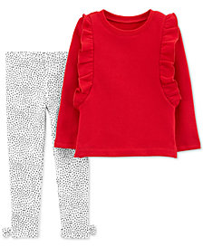 Carter's Toddler Girls 2-Pc. Ruffle-Trim Sweatshirt & Printed Leggings Set