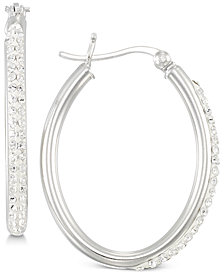 Simone I. Smith Crystal Hoop Earrings in Sterling Silver