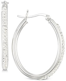 Simone I. Smith Crystal Hoop Earrings in Sterling Silver
