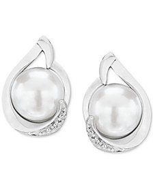 Cultured Freshwater Pearl (7mm) & Diamond Accent Stud Earrings in Sterling Silver