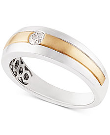 Diamond Two-Tone Band (1/6 ct. t.w.) in 10k Gold & White Gold