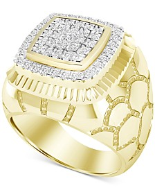Men's Diamond Cluster Nugget Ring (1 ct. t.w.) in 10k Gold