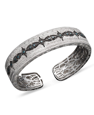 Blue and White Diamond Bangle Bracelet in Sterling Silver (3/4 ct. t.w.)