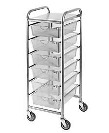 Seville Classics 6 Drawer Steel Mesh Organizer Cart