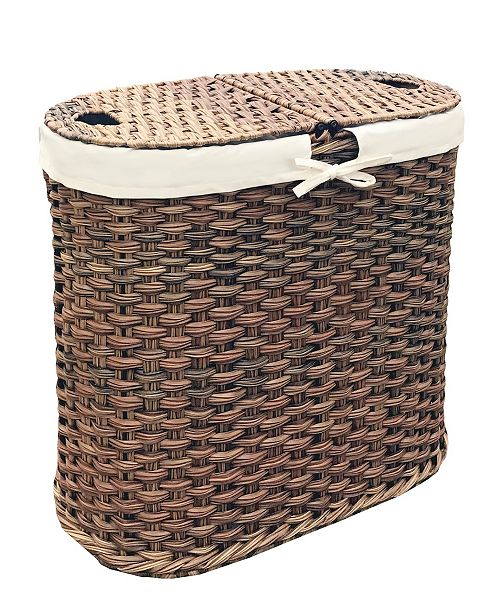 Seville Classics Hand Woven Oval Double Laundry Hamper With Liner Reviews Cleaning Organization Home Macy S