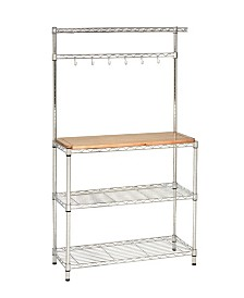 Seville Classics Ultrazinc Bakers Rack Workstation With Rubberwood Top