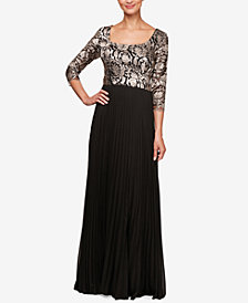 Alex Evenings Petite Embroidered-Bodice Evening Gown