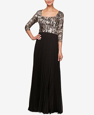 Alex Evenings Petite Embroidered Bodice Evening Gown Dresses