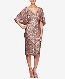 Alex Evenings Petite Allover Sequin Cape Dress