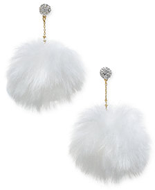 kate spade new york Gold-Tone Pavé Orb & Faux Fur Pouf Drop Earrings
