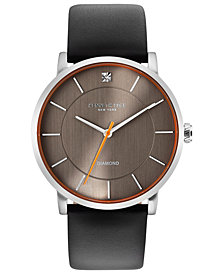Kenneth Cole New York Men's Diamond-Accent Black Leather Strap Watch 42mm
