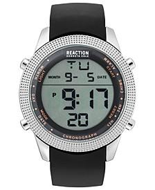 Men's Digital Black Silicone Strap Watch 50mm