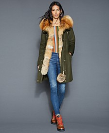 Fox-Fur-Trim Rabbit-Lined Parka