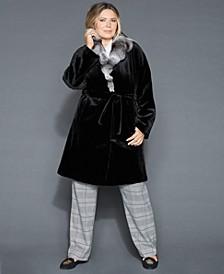 Plus Size Chinchilla-Collar Sheared Mink Coat