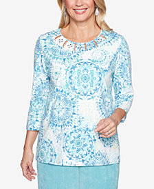 Alfred Dunner Simply Irresistible Printed Cutout Top