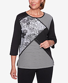 Alfred Dunner Sutton Place Spliced Embellished Top