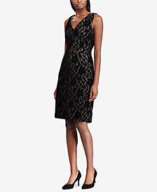 Lauren Ralph Lauren Petite Lace V-Neck Dress