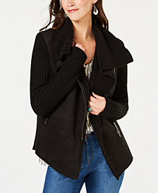 Style & Co Petite Faux-Shearling Knit-Sleeve Jacket, Created for Macy's