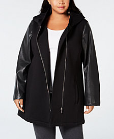 Calvin Klein Plus Size Mixed-Media Moto Jacket