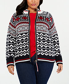 Tommy Hilfiger Plus Size Fair Isle Zipper Sweater, Created for Macy'