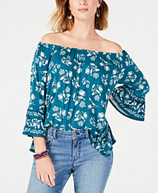 Style & Co Floral-Print Off-The-Shoulder Top, Created for Macy's