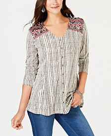 Style & Co V-Neck Button Front Embroidered Top, Created for Macy's