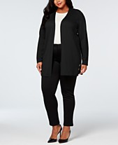 102e811386a JM Collection Plus Size Grommet Lace-Up Cardigan