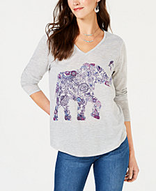 Style & Co Elephant-Graphic V-Neck T-Shirt, Created for Macy's