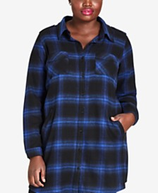 City Chic Plus Size Cotton Plaid Tunic Top