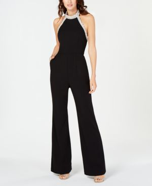 ADRIANNA PAPELL Beaded-Halter Jumpsuit in Black