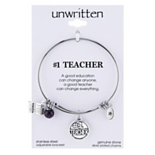Unwritten No. 1 Teacher Charm and Cherry Quartz (8mm) Bangle Bracelet in Stainless Steel